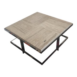 Travertine & Chrome Coffee Table