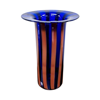 Mid Century Cenedese Vetri Striped Murano Glass Vase