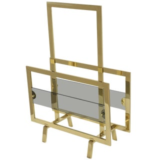 italian Brass & Glass Magazine Rack