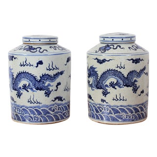 Vintage Sarreid LTD Blue & White Ginger Jars - A Pair