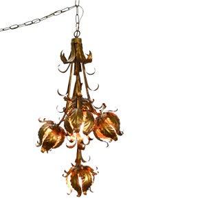 Mid Century Hollywood Regency Gilt Metal Floral Hanging Chandelier