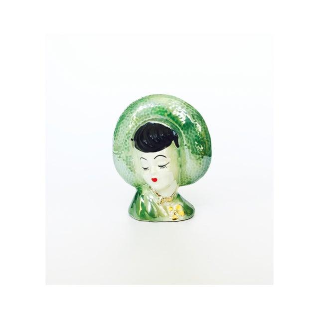 Image of Vintage Green Lady Head Vase