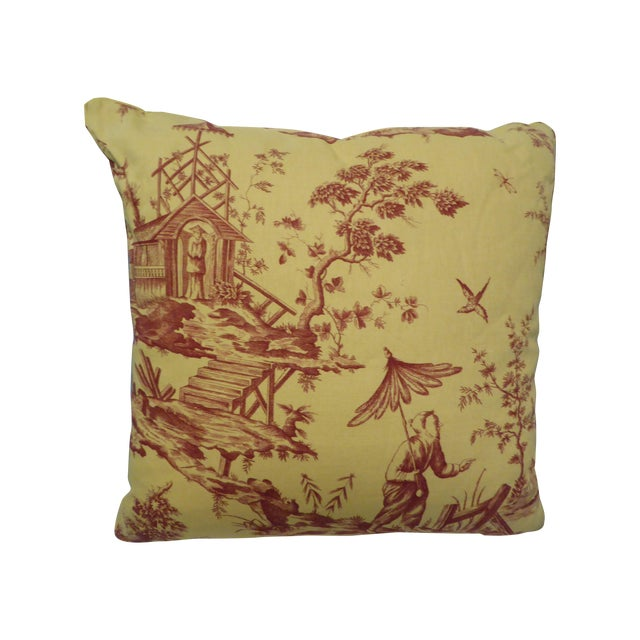 Image of Large Pillow with Fishing Scene Details