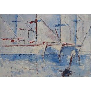 Sailboats Impasto Oil Painting