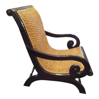 Plantation Style Rattan Chair With Dark Wood Frame