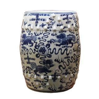 Chinese Blue & White Porcelain Foo Dogs Stool