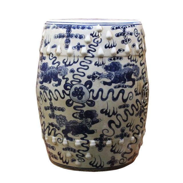 Image of Chinese Blue & White Porcelain Foo Dogs Stool