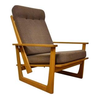 Mid-Century Modern Oak Reclining Lounge Chair