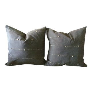Heather Gray Tribal Pillows - A Pair
