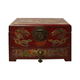 Chinese Golden Colorful Red Dragon Graphic Jewelry Box