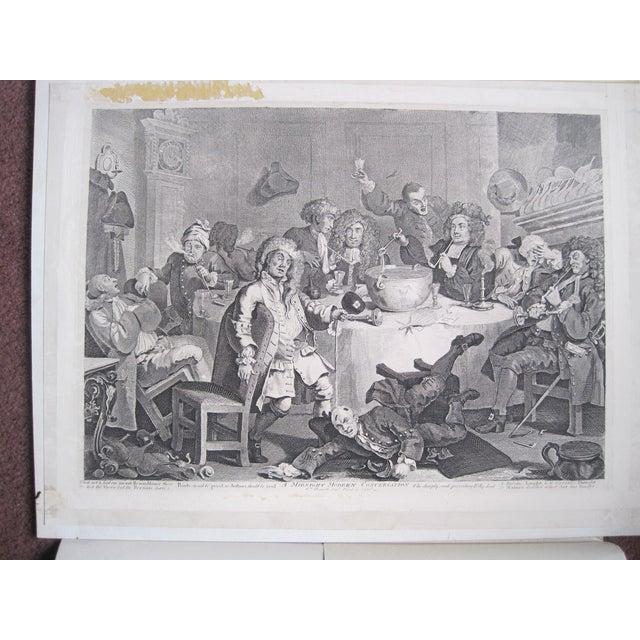 1804 Hogarth Etching Midnight Modern Conversation - Image 2 of 8