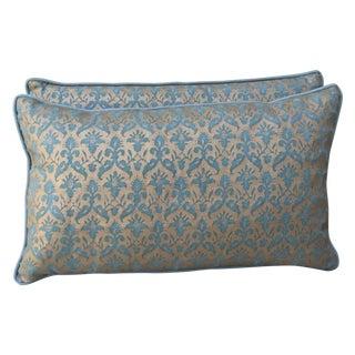 Aqua Marine & Gold Fortuny Pillows - A Pair