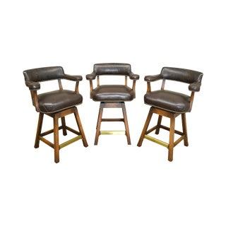 Vintage Set of 3 Brown Leather Swivel Bar Stools