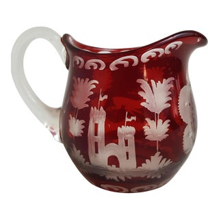 Antique Ruby Cut to Clear Small Pitcher