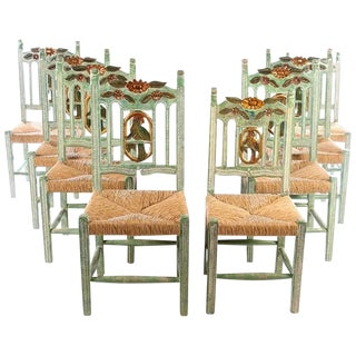 Hand Carved And Painted Parrot Back Dining Chairs