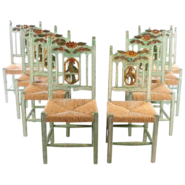 Hand Carved And Hand Painted Parrot Back Dining Chairs   Set Of 8