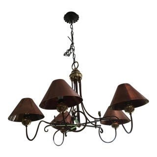 Copper, Wrought Iron and Brass Accent Chandelier