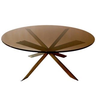 1960s Leon Rosen for Pace Collection Brass & Smoked Glass Coffee Table