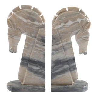 Mid-Century Onyx Horse Head Bookends - Pair