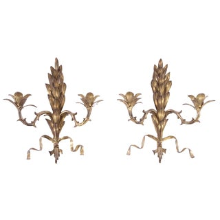 Stylized Bronze Candle Sconces - A Pair