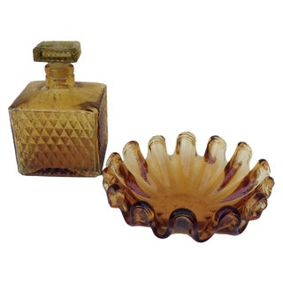 Mid-Century Amber Glass Bottle & Tray - A Pair