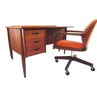 Vintage Mid Century Modern Teak Desk & Chair
