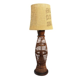Vintage Bamboo Fish Trap Table Lamp