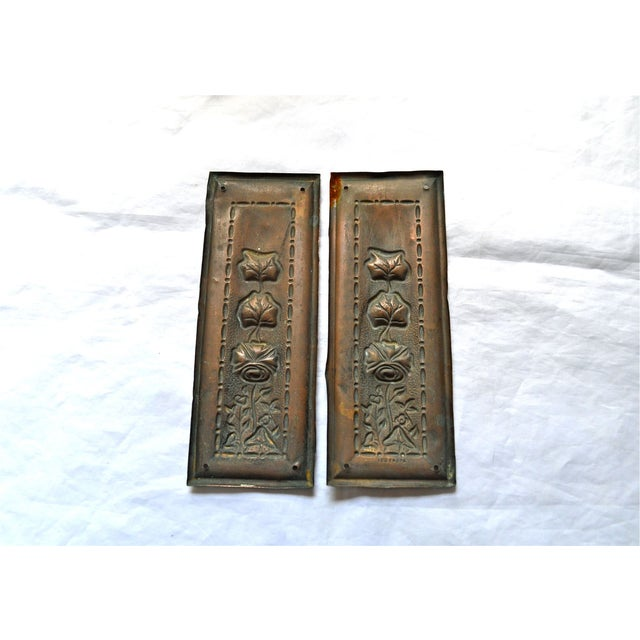 1910 Art Nouveau Copper Lotus Door Push Plates - Image 8 of 9