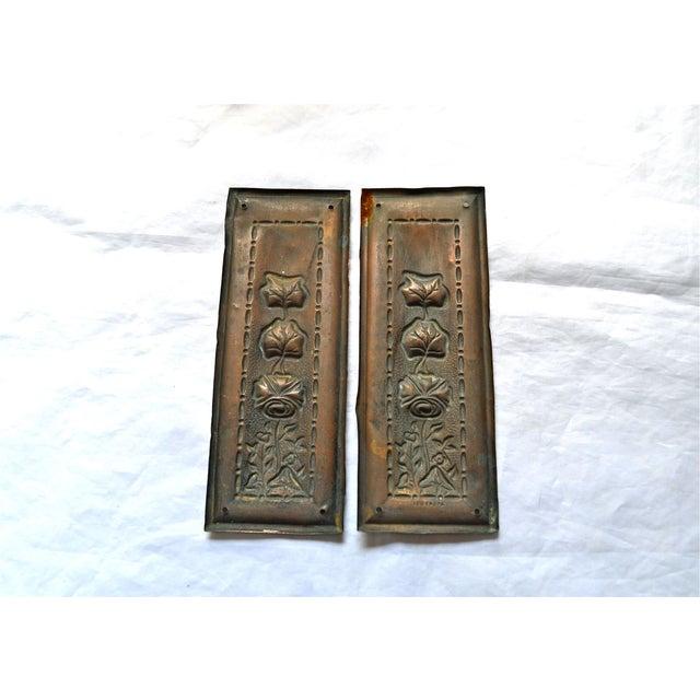 Image of 1910 Art Nouveau Copper Lotus Door Push Plates