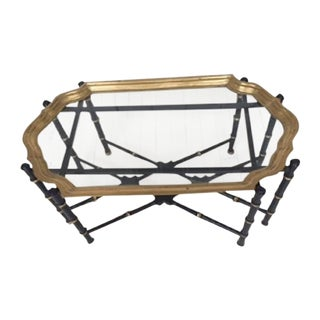 Hollywood Regency Brass & Faux Bamboo Coffee Table