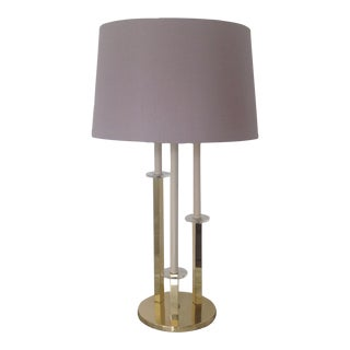 Hollywood Regency Style Brass & Lucite Table Lamp