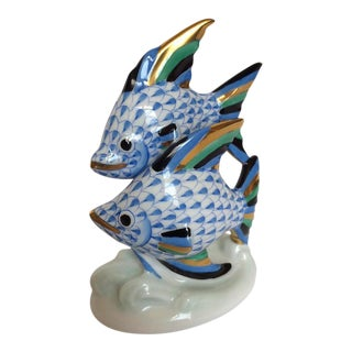 Herend Two Blue Fish Swimming Figure