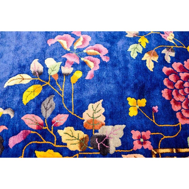 Chinese Art Deco Indigo Floral Rug - 8′ × 9′9″ - Image 2 of 4