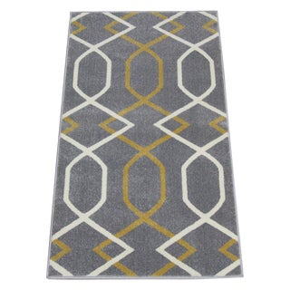 Geometric Gray & Yellow Rug - 3′ × 5′