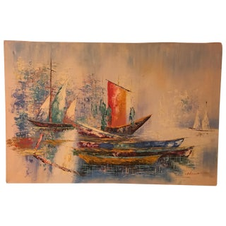 Mid Century Modern Abstract Ship Painting
