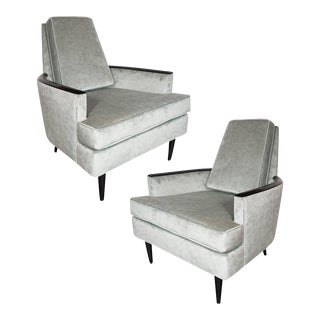 Pair of Mid-Century Armchairs in Smoked Platinum Velvet and Ebonized Walnut