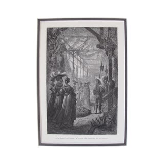 Vintage French Romantic Greenhouse Woodcut, 1881
