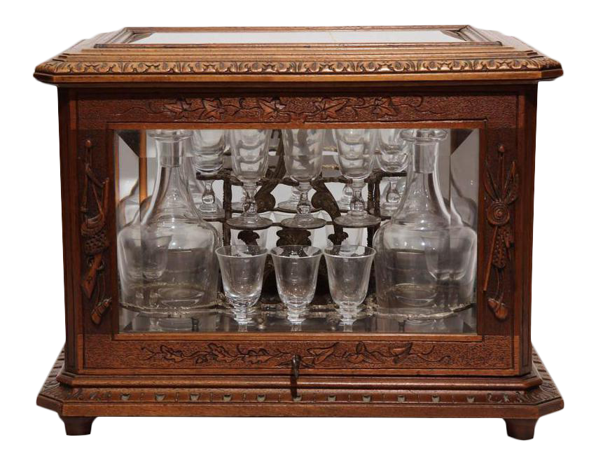 Great 19th Century French Walnut Black Forest Cave A Liqueur, Carafes U0026 Glasses    Set Of