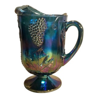 "1971 Indiana Glass Carnival Blue Pressed-Glass ""Harvest Grape"" Series Pitcher"