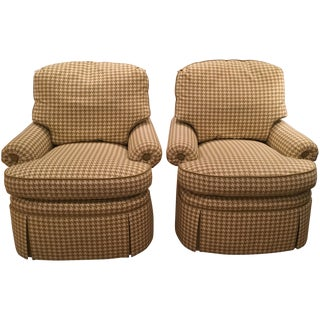 Upholstered Houndstooth Chairs - A Pair