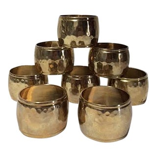 Vintage Hammered Brass Napkin Rings - Set of 8