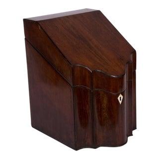 18th Century George III Mahogany and Inlaid Knife Box
