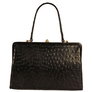 Pointer Gold Medal Black Ostrich Skin Kelly Purse