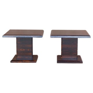 Rosewood Side Tables W/ Steel Trim - a Pair
