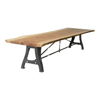 Solid Wood on Metal Table