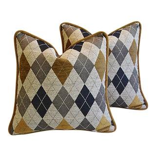 Custom Tailored Woven Scottish Argyle Design Feather/Down Pillows - Pair