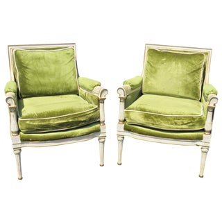 Shabby Chic Upholstered Bergeres - A Pair