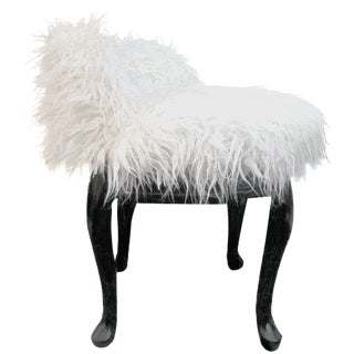 Vintage French Boudoir Faux Fur Swivel Chair