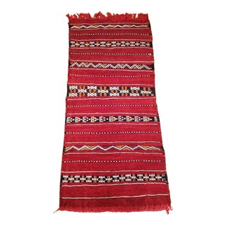 Moroccan Flat Weave Red Zemmour Kilim Rug - 2′ × 4′4″