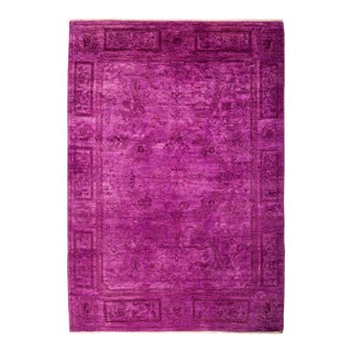 "Purple Hand Knotted ""Vibrance"" Area Rug - 5' 2"" X 7' 3"""